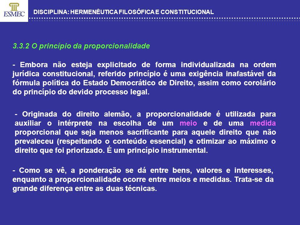 DISCIPLINA: HERMENÊUTICA FILOSÓFICA E CONSTITUCIONAL 3.3.2 O princípio da proporcionalidade - Embora não esteja explicitado de forma individualizada n
