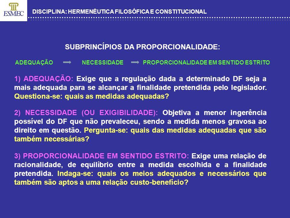 DISCIPLINA: HERMENÊUTICA FILOSÓFICA E CONSTITUCIONAL SUBPRINCÍPIOS DA PROPORCIONALIDADE: ADEQUAÇÃO NECESSIDADE PROPORCIONALIDADE EM SENTIDO ESTRITO 1)
