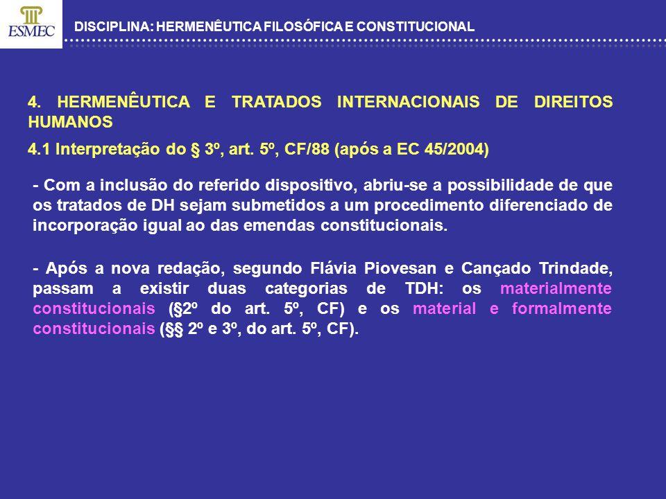 DISCIPLINA: HERMENÊUTICA FILOSÓFICA E CONSTITUCIONAL 4. HERMENÊUTICA E TRATADOS INTERNACIONAIS DE DIREITOS HUMANOS 4.1 Interpretação do § 3º, art. 5º,