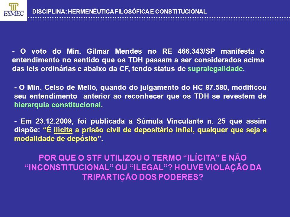 DISCIPLINA: HERMENÊUTICA FILOSÓFICA E CONSTITUCIONAL - O voto do Min. Gilmar Mendes no RE 466.343/SP manifesta o entendimento no sentido que os TDH pa