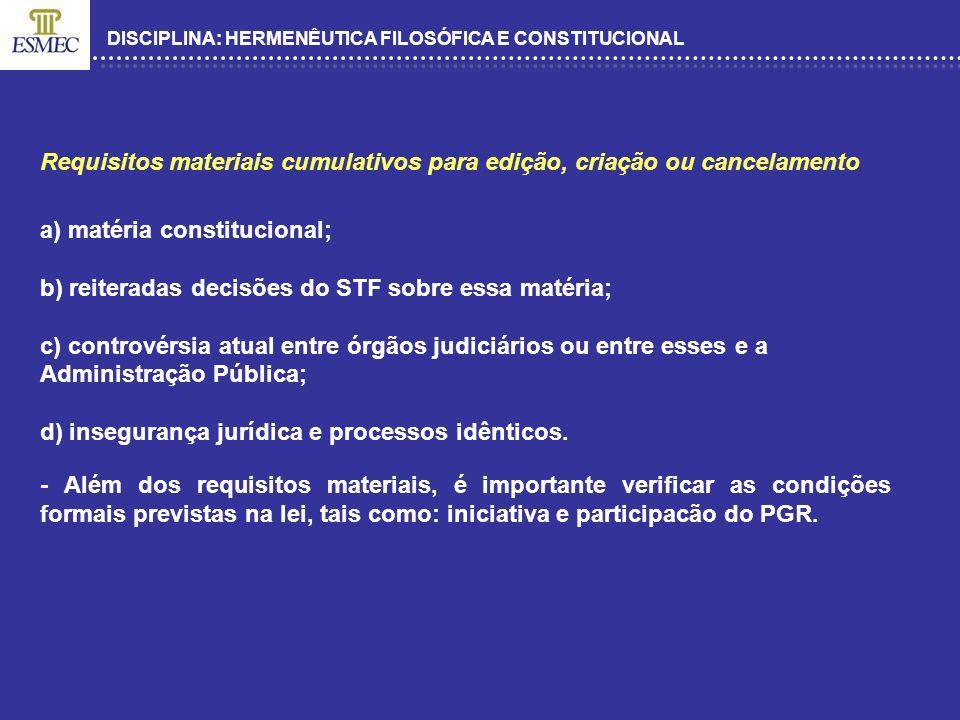 DISCIPLINA: HERMENÊUTICA FILOSÓFICA E CONSTITUCIONAL Requisitos materiais cumulativos para edição, criação ou cancelamento a) matéria constitucional;