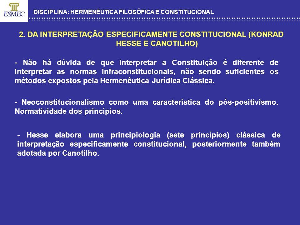 DISCIPLINA: HERMENÊUTICA FILOSÓFICA E CONSTITUCIONAL 2. DA INTERPRETAÇÃO ESPECIFICAMENTE CONSTITUCIONAL (KONRAD HESSE E CANOTILHO) - Não há dúvida de