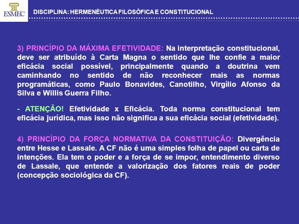 DISCIPLINA: HERMENÊUTICA FILOSÓFICA E CONSTITUCIONAL 3) PRINCÍPIO DA MÁXIMA EFETIVIDADE: Na interpretação constitucional, deve ser atribuído à Carta M