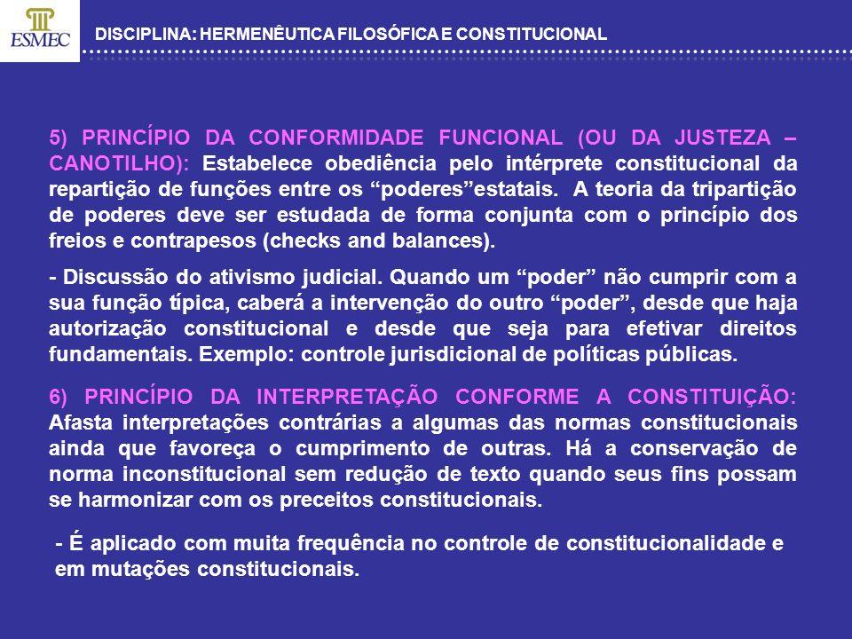 DISCIPLINA: HERMENÊUTICA FILOSÓFICA E CONSTITUCIONAL 5) PRINCÍPIO DA CONFORMIDADE FUNCIONAL (OU DA JUSTEZA – CANOTILHO): Estabelece obediência pelo in