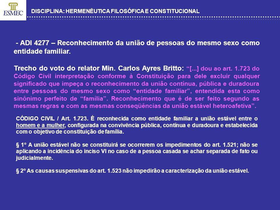 DISCIPLINA: HERMENÊUTICA FILOSÓFICA E CONSTITUCIONAL CONSTITUIÇÃO FEDERAL / Art.