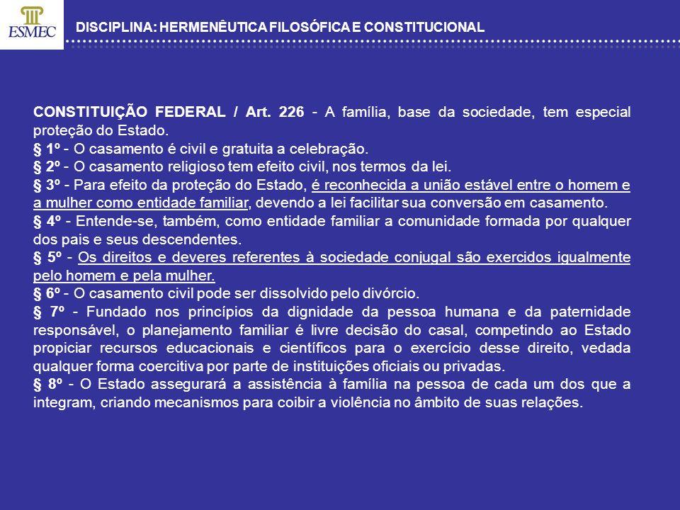 DISCIPLINA: HERMENÊUTICA FILOSÓFICA E CONSTITUCIONAL CONSTITUIÇÃO FEDERAL / Art. 226 - A família, base da sociedade, tem especial proteção do Estado.