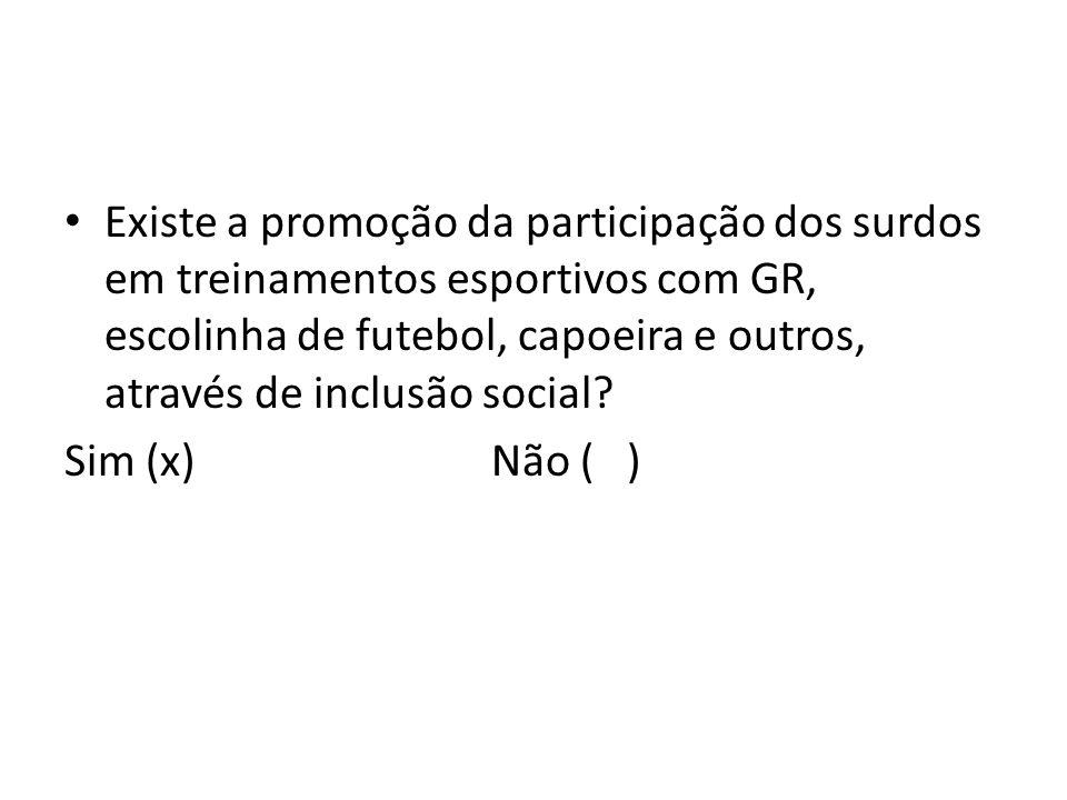 Existe a promoção da participação dos surdos em treinamentos esportivos com GR, escolinha de futebol, capoeira e outros, através de inclusão social? S