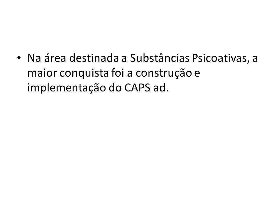 Na área destinada a Substâncias Psicoativas, a maior conquista foi a construção e implementação do CAPS ad.