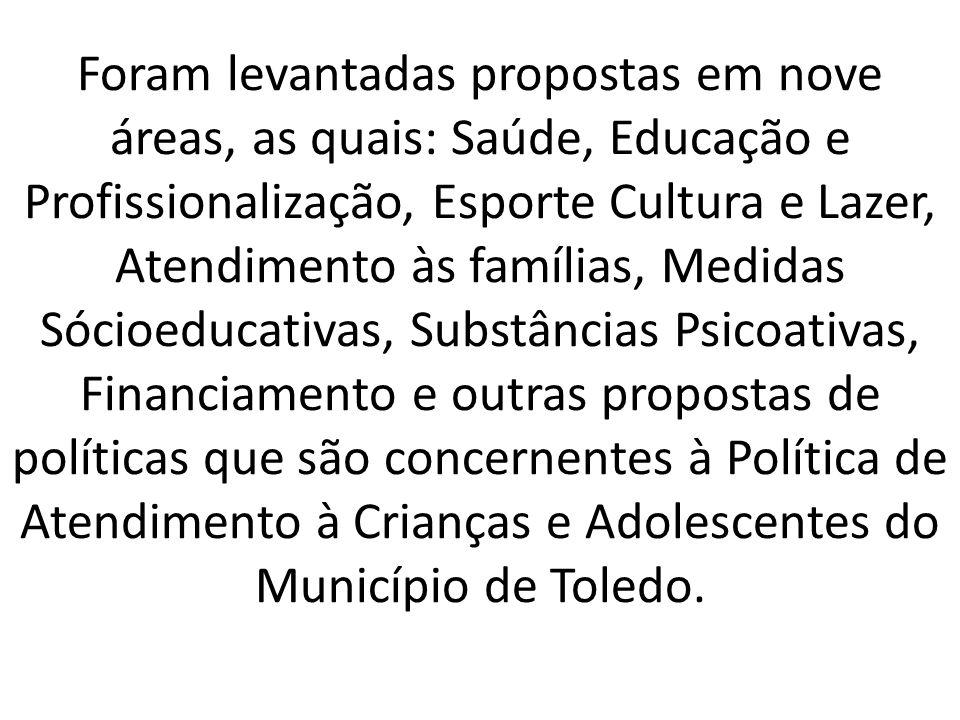 Foram levantadas propostas em nove áreas, as quais: Saúde, Educação e Profissionalização, Esporte Cultura e Lazer, Atendimento às famílias, Medidas Só