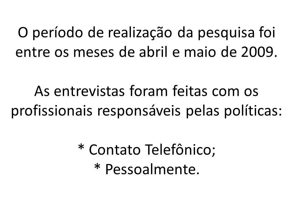 O período de realização da pesquisa foi entre os meses de abril e maio de 2009. As entrevistas foram feitas com os profissionais responsáveis pelas po
