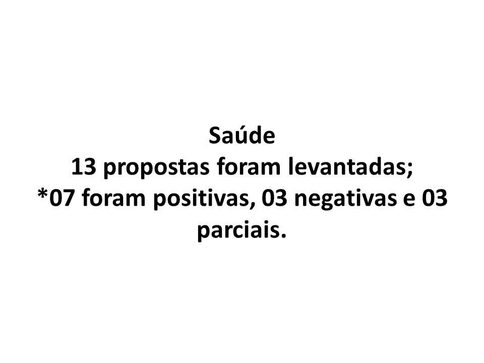Saúde 13 propostas foram levantadas; *07 foram positivas, 03 negativas e 03 parciais.