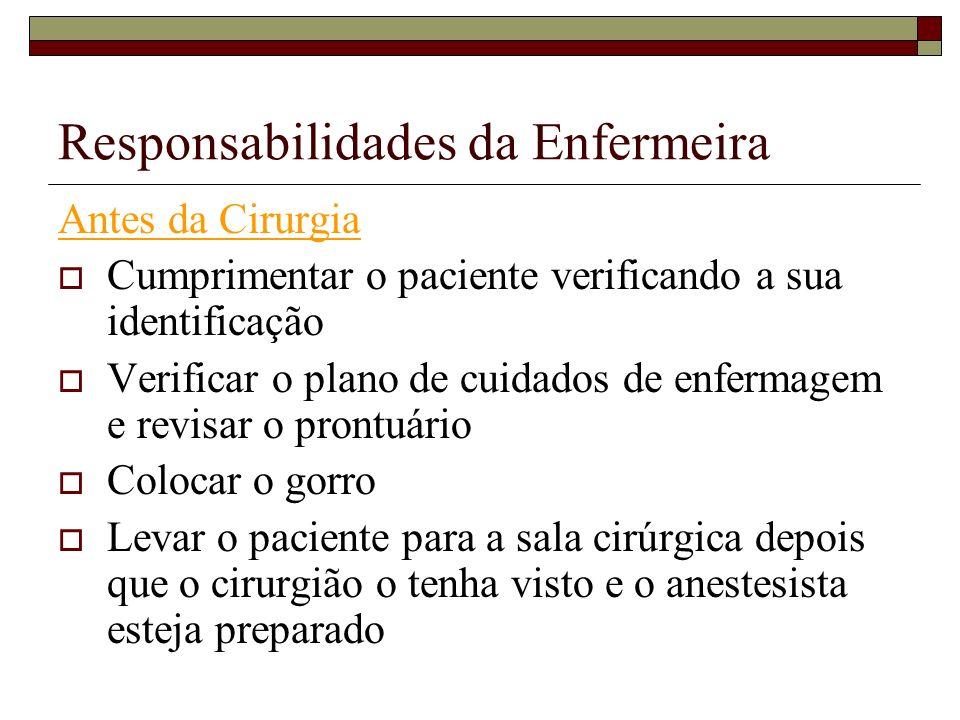 Responsabilidades da Enfermeira Antes da Cirurgia Cumprimentar o paciente verificando a sua identificação Verificar o plano de cuidados de enfermagem
