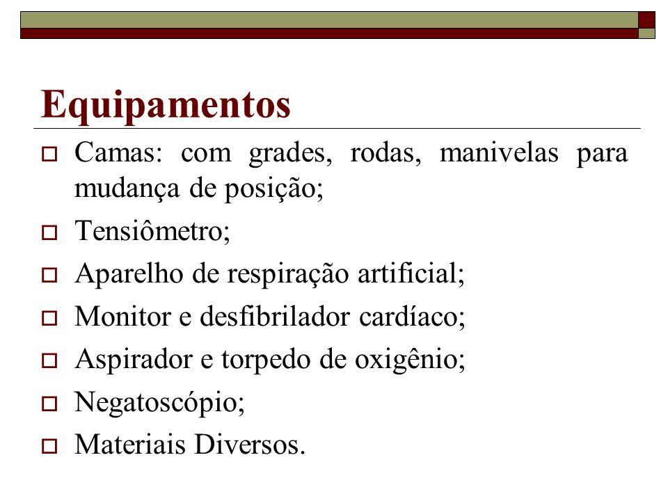Equipamentos Camas: com grades, rodas, manivelas para mudança de posição; Tensiômetro; Aparelho de respiração artificial; Monitor e desfibrilador card