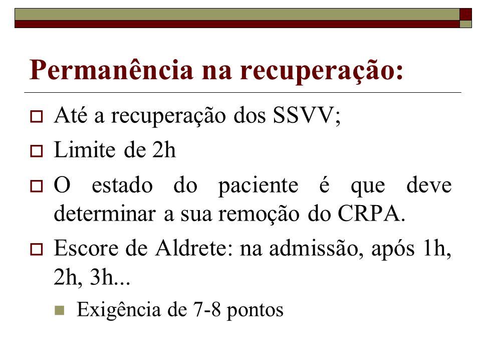 Permanência na recuperação: Até a recuperação dos SSVV; Limite de 2h O estado do paciente é que deve determinar a sua remoção do CRPA. Escore de Aldre