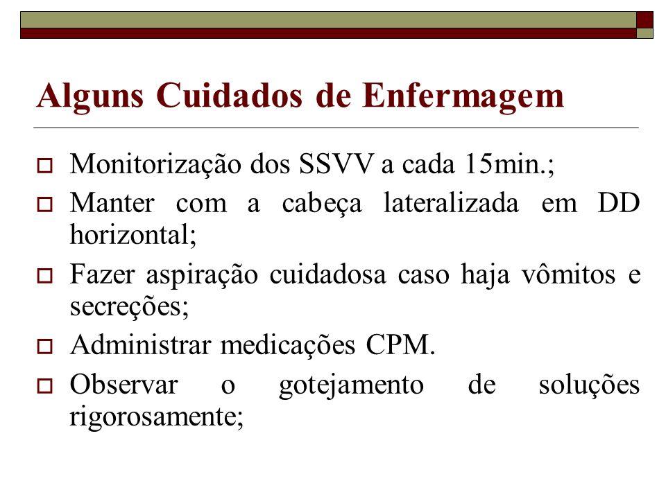 Alguns Cuidados de Enfermagem Monitorização dos SSVV a cada 15min.; Manter com a cabeça lateralizada em DD horizontal; Fazer aspiração cuidadosa caso