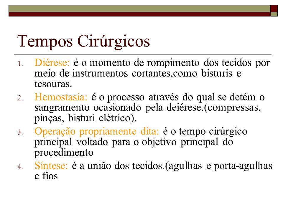 Tempos Cirúrgicos 1. Diérese: é o momento de rompimento dos tecidos por meio de instrumentos cortantes,como bisturis e tesouras. 2. Hemostasia: é o pr