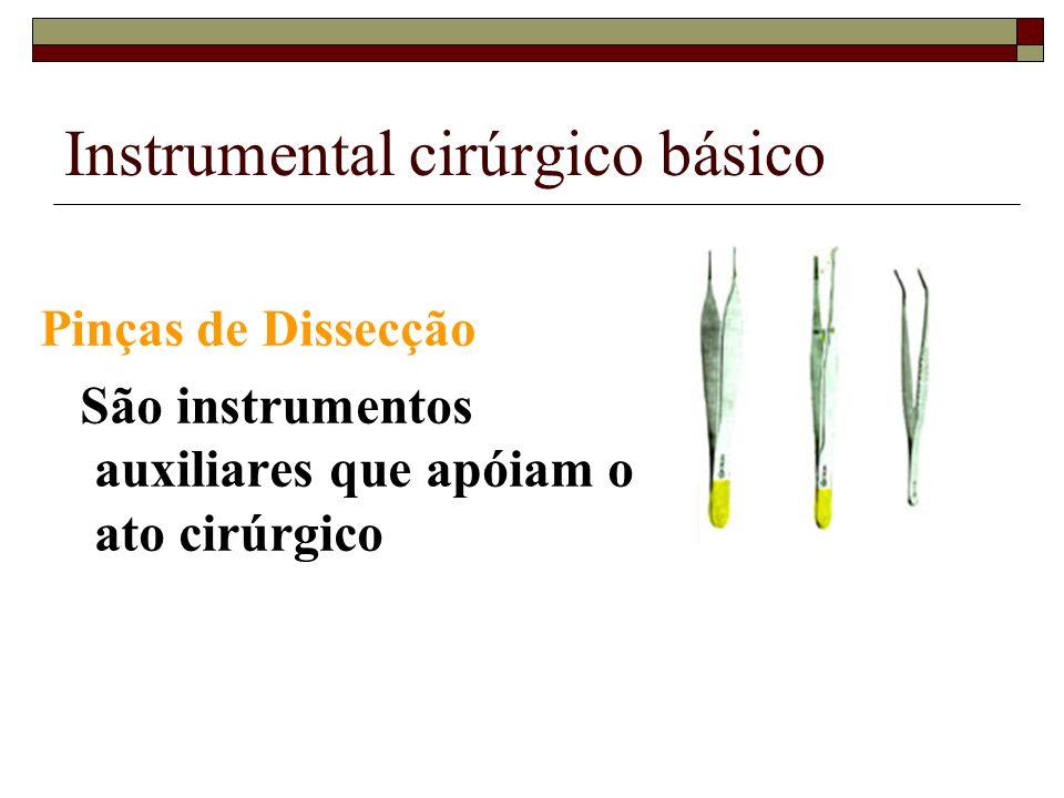 Instrumental cirúrgico básico Pinças de Dissecção São instrumentos auxiliares que apóiam o ato cirúrgico
