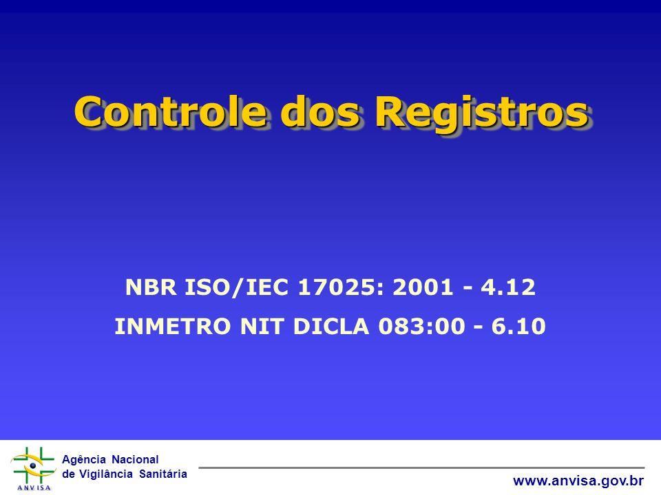 Agência Nacional de Vigilância Sanitária www.anvisa.gov.br Controle dos Registros NBR ISO/IEC 17025: 2001 - 4.12 INMETRO NIT DICLA 083:00 - 6.10
