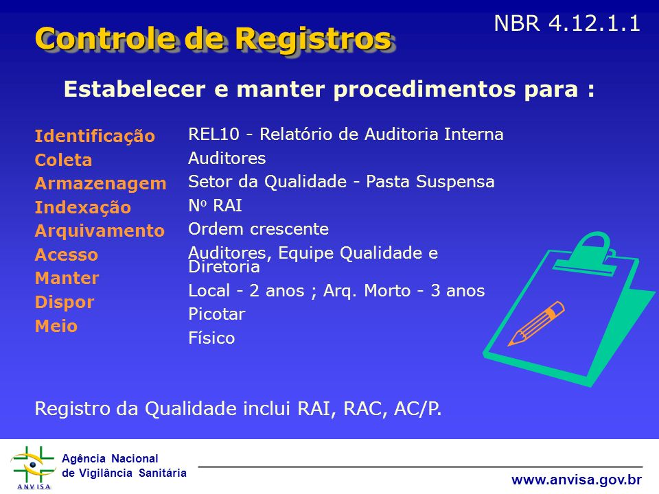 Agência Nacional de Vigilância Sanitária www.anvisa.gov.br Registro da Qualidade inclui RAI, RAC, AC/P. REL10 - Relatório de Auditoria Interna Auditor
