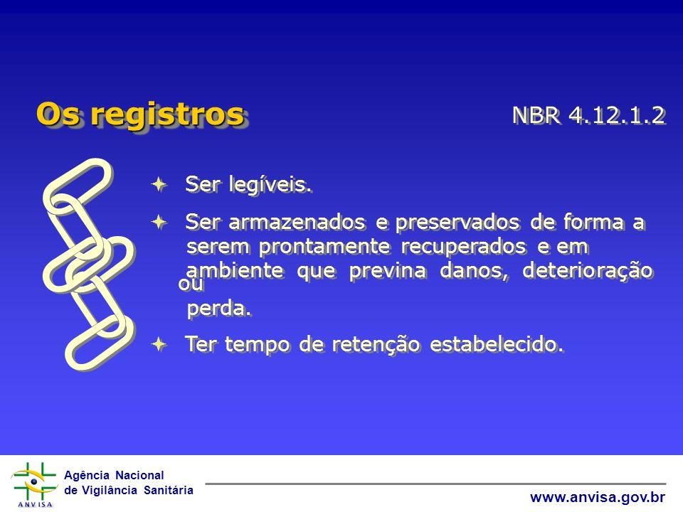 Agência Nacional de Vigilância Sanitária www.anvisa.gov.br Ser legíveis. Ser armazenados e preservados de forma a serem prontamente recuperados e em a