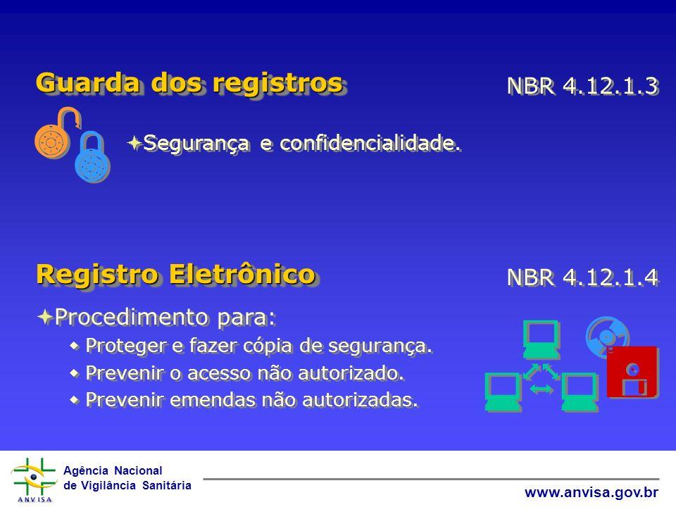 Agência Nacional de Vigilância Sanitária www.anvisa.gov.br Segurança e confidencialidade. NBR 4.12.1.3 Guarda dos registros Procedimento para: Protege