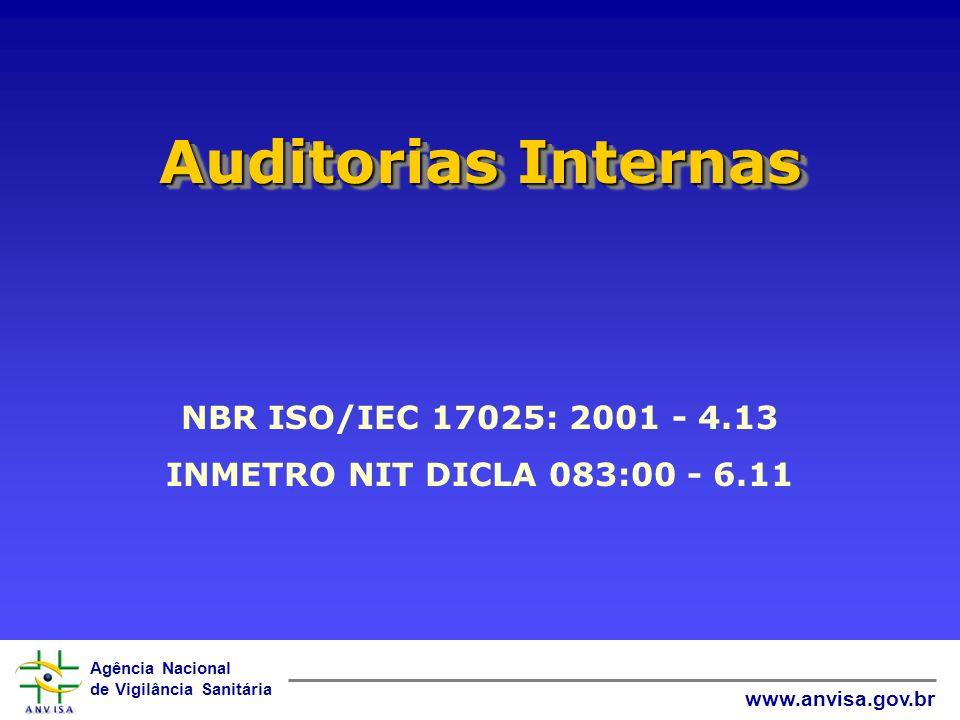 Agência Nacional de Vigilância Sanitária www.anvisa.gov.br Auditorias Internas NBR ISO/IEC 17025: 2001 - 4.13 INMETRO NIT DICLA 083:00 - 6.11