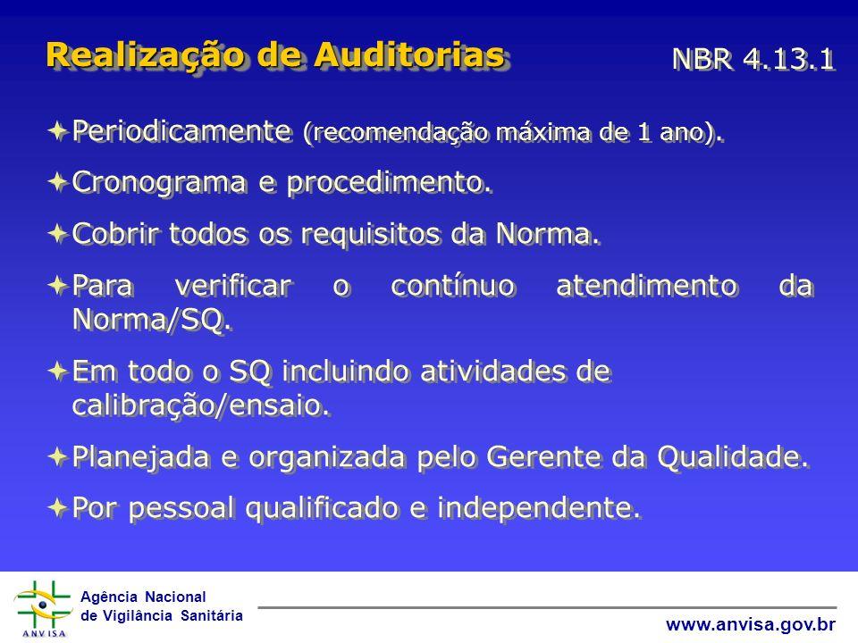 Agência Nacional de Vigilância Sanitária www.anvisa.gov.br Periodicamente (recomendação máxima de 1 ano). Cronograma e procedimento. Cobrir todos os r