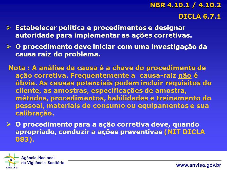 Agência Nacional de Vigilância Sanitária www.anvisa.gov.br NBR 4.10.3 / 4.10.4 DICLA 6.7.2 / 6.7.3 DICLA 6.7.2 / 6.7.3 Selecionar e implementar as ações mais prováveis para eliminar o problema e prevenir sua reincidência.
