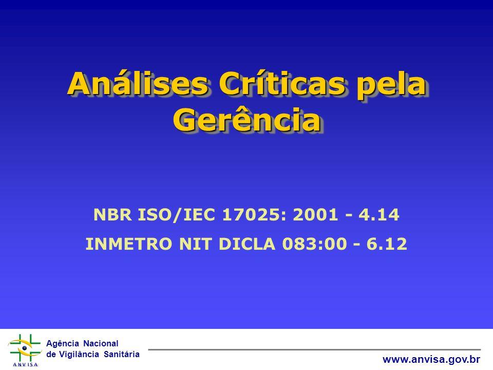 Agência Nacional de Vigilância Sanitária www.anvisa.gov.br Análises Críticas pela Gerência NBR ISO/IEC 17025: 2001 - 4.14 INMETRO NIT DICLA 083:00 - 6