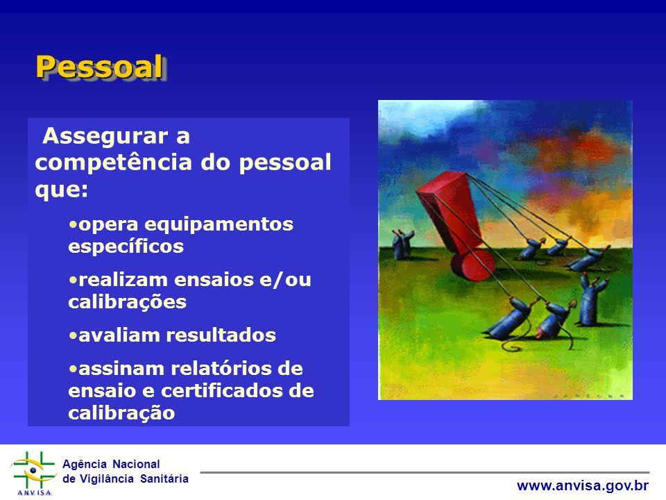 Agência Nacional de Vigilância Sanitária www.anvisa.gov.br Assegurar a competência do pessoal que: opera equipamentos específicos realizam ensaios e/o