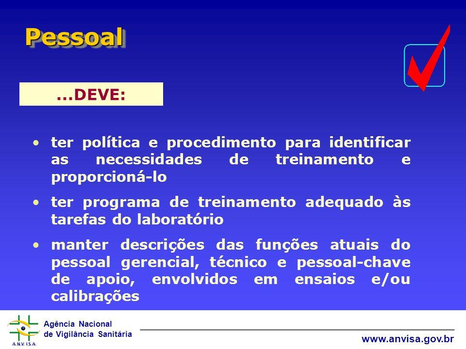 Agência Nacional de Vigilância Sanitária www.anvisa.gov.br...DEVE: PessoalPessoal ter política e procedimento para identificar as necessidades de trei