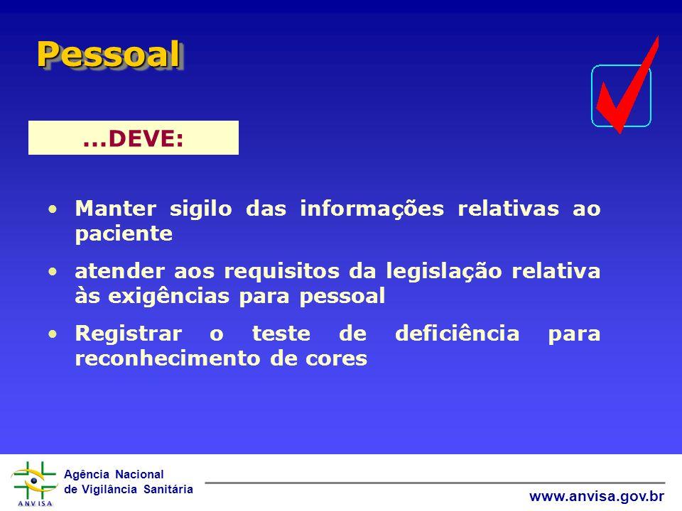 Agência Nacional de Vigilância Sanitária www.anvisa.gov.br...DEVE: PessoalPessoal Manter sigilo das informações relativas ao paciente atender aos requ