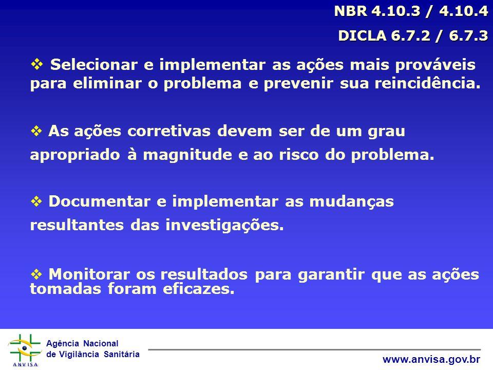 Agência Nacional de Vigilância Sanitária www.anvisa.gov.br NBR 4.10.3 / 4.10.4 DICLA 6.7.2 / 6.7.3 DICLA 6.7.2 / 6.7.3 Selecionar e implementar as açõ