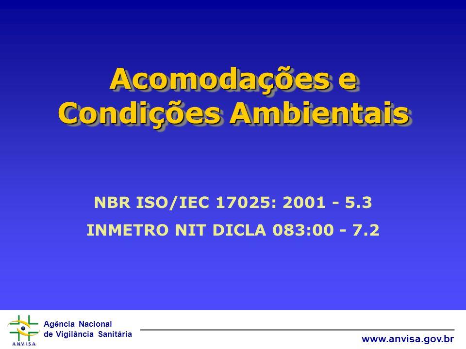 Agência Nacional de Vigilância Sanitária www.anvisa.gov.br Acomodações e Condições Ambientais NBR ISO/IEC 17025: 2001 - 5.3 INMETRO NIT DICLA 083:00 -