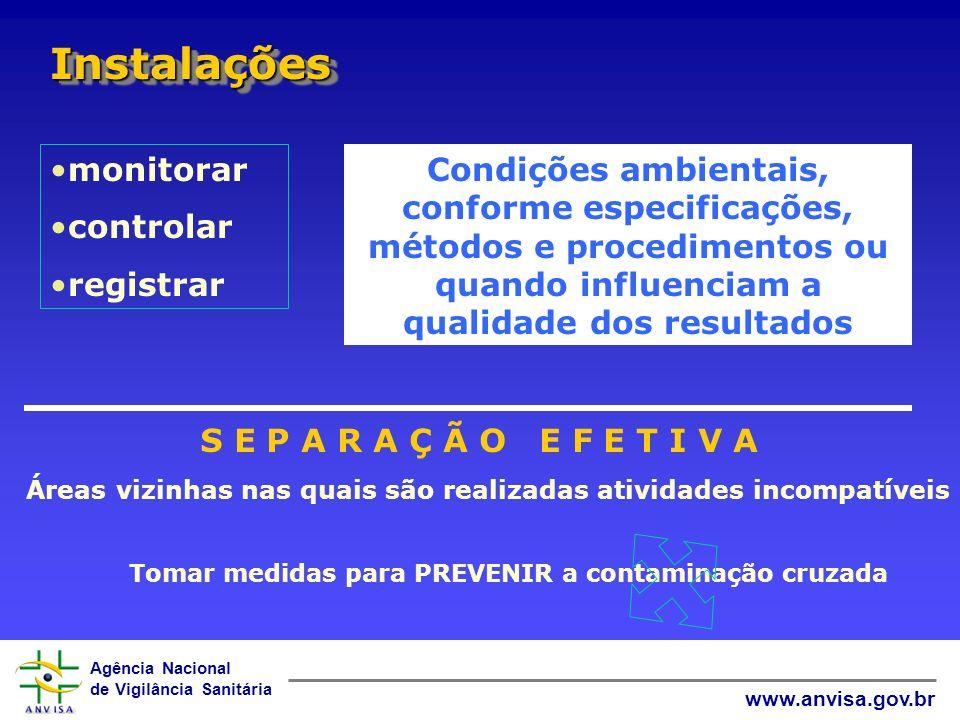 Agência Nacional de Vigilância Sanitária www.anvisa.gov.br InstalaçõesInstalações monitorar controlar registrar Condições ambientais, conforme especif