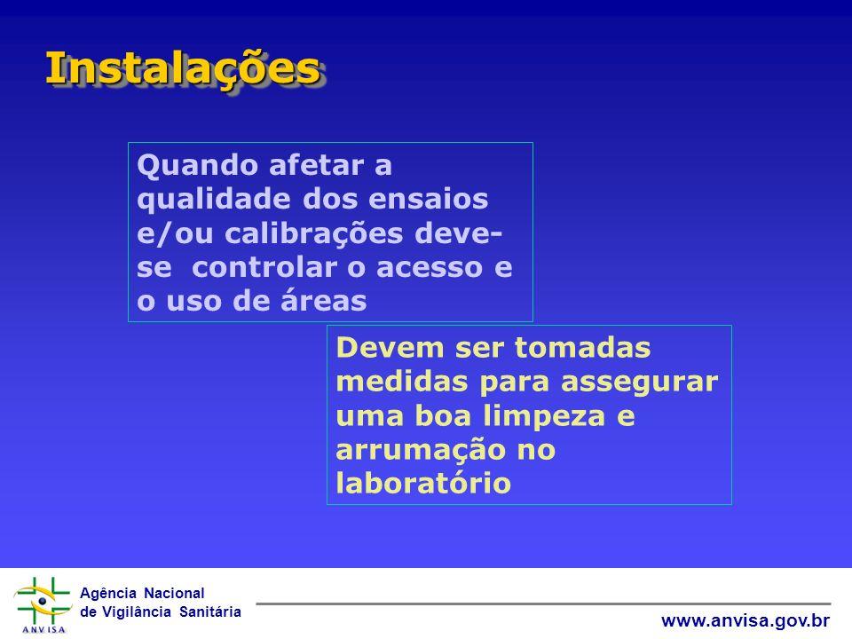 Agência Nacional de Vigilância Sanitária www.anvisa.gov.br InstalaçõesInstalações Quando afetar a qualidade dos ensaios e/ou calibrações deve- se cont