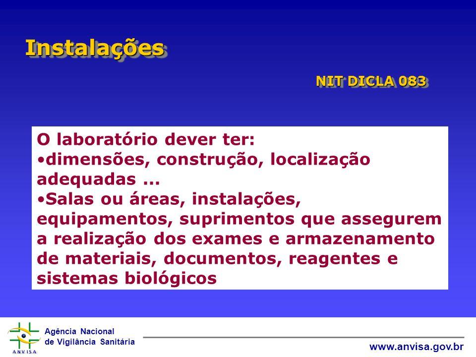 Agência Nacional de Vigilância Sanitária www.anvisa.gov.br InstalaçõesInstalações O laboratório dever ter: dimensões, construção, localização adequada