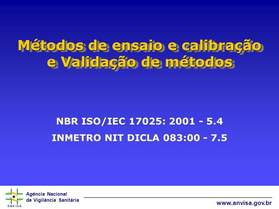 Agência Nacional de Vigilância Sanitária www.anvisa.gov.br Métodos de ensaio e calibração e Validação de métodos NBR ISO/IEC 17025: 2001 - 5.4 INMETRO