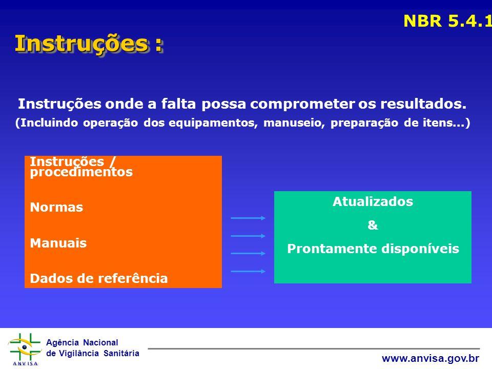 Agência Nacional de Vigilância Sanitária www.anvisa.gov.br Instruções : NBR 5.4.1 Instruções onde a falta possa comprometer os resultados. (Incluindo
