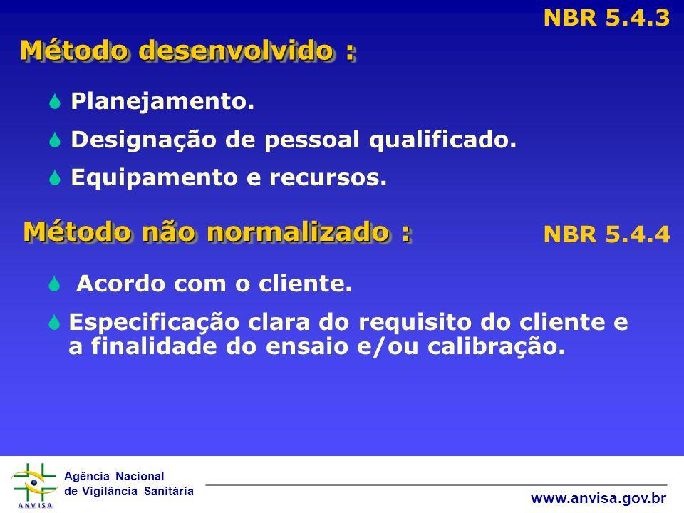Agência Nacional de Vigilância Sanitária www.anvisa.gov.br Método desenvolvido : NBR 5.4.3 Planejamento. Designação de pessoal qualificado. Equipament