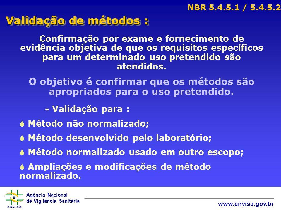 Agência Nacional de Vigilância Sanitária www.anvisa.gov.br Validação de métodos : NBR 5.4.5.1 / 5.4.5.2 Confirmação por exame e fornecimento de evidên