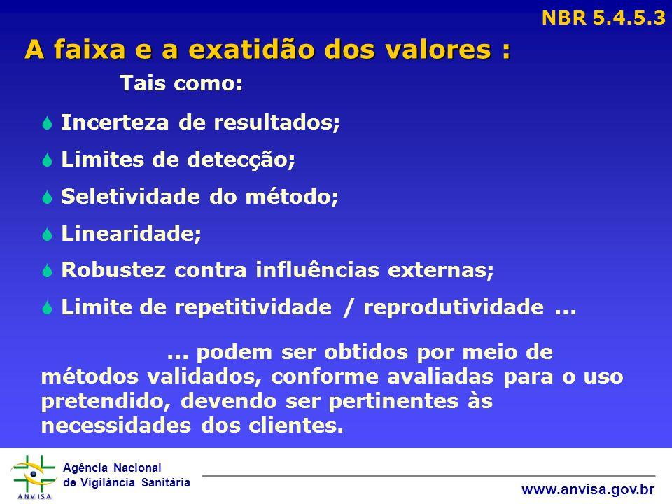 Agência Nacional de Vigilância Sanitária www.anvisa.gov.br A faixa e a exatidão dos valores : A faixa e a exatidão dos valores : NBR 5.4.5.3 Tais como