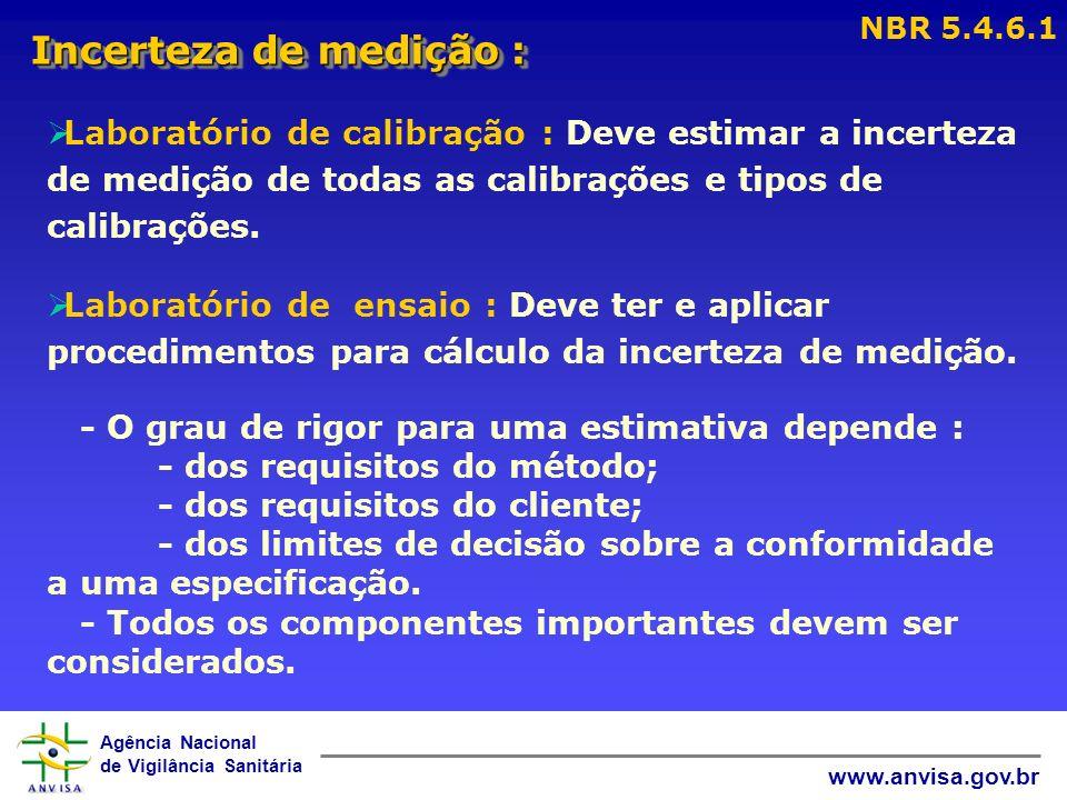 Agência Nacional de Vigilância Sanitária www.anvisa.gov.br Incerteza de medição : NBR 5.4.6.1 Laboratório de calibração : Deve estimar a incerteza de