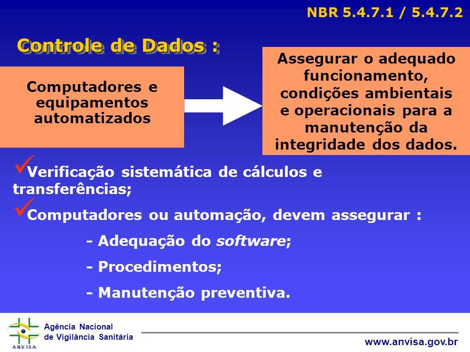 Agência Nacional de Vigilância Sanitária www.anvisa.gov.br Controle de Dados : NBR 5.4.7.1 / 5.4.7.2 Computadores e equipamentos automatizados Assegur