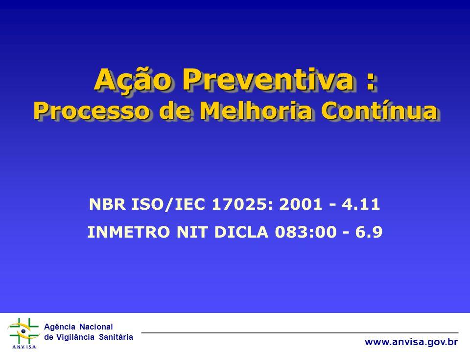 Agência Nacional de Vigilância Sanitária www.anvisa.gov.br Ação Preventiva : Processo de Melhoria Contínua NBR ISO/IEC 17025: 2001 - 4.11 INMETRO NIT