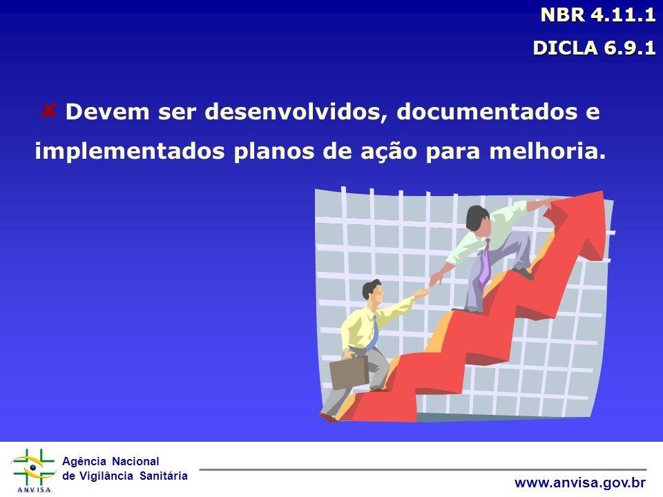Agência Nacional de Vigilância Sanitária www.anvisa.gov.br Devem ser desenvolvidos, documentados e implementados planos de ação para melhoria. NBR 4.1