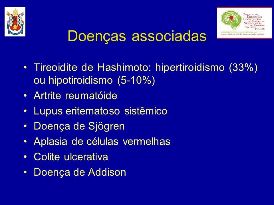 Doenças associadas Tireoidite de Hashimoto: hipertiroidismo (33%) ou hipotiroidismo (5-10%) Artrite reumatóide Lupus eritematoso sistêmico Doença de S