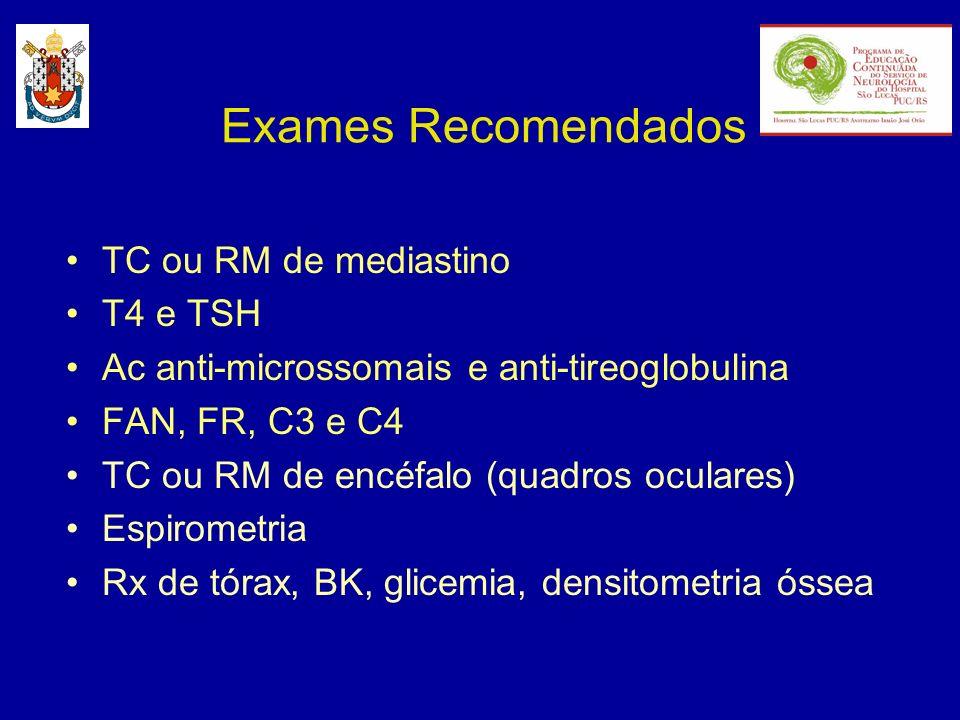Exames Recomendados TC ou RM de mediastino T4 e TSH Ac anti-microssomais e anti-tireoglobulina FAN, FR, C3 e C4 TC ou RM de encéfalo (quadros oculares