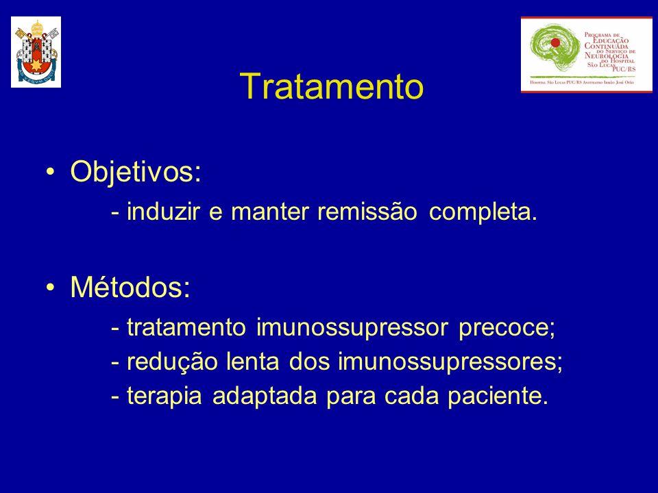 Tratamento Objetivos: - induzir e manter remissão completa. Métodos: - tratamento imunossupressor precoce; - redução lenta dos imunossupressores; - te
