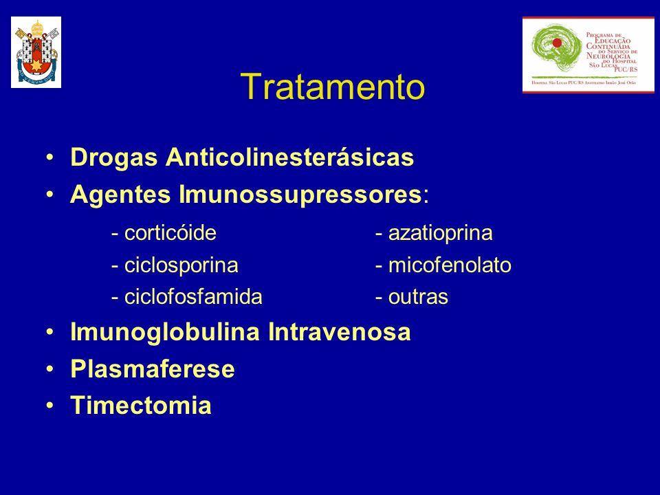 Tratamento Drogas Anticolinesterásicas Agentes Imunossupressores: - corticóide- azatioprina - ciclosporina- micofenolato - ciclofosfamida- outras Imun